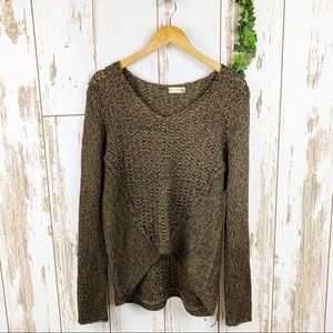 Stitch Fix Chunky Brown Cozy Hi Low Sweater EUC